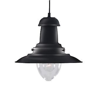 Rybak czarny i jasne szkło wisiorek średnio - Searchlight 4301BK