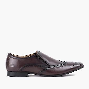 Mens brown slip on shoe with brogue detail