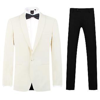 Dobell Mens wit 2 stuk Tuxedo Regular Fit omslagdoek revers avond diner pak zwarte broek