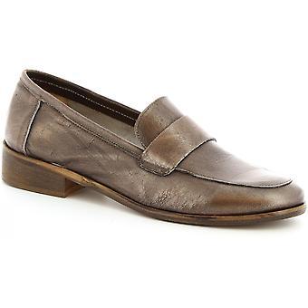 Leonardo schoenen vrouwen handgemaakte mocassins in platina amber kalfsleder