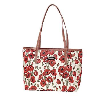 Poppy shoulder tote bag by signare tapestry / coll-pop