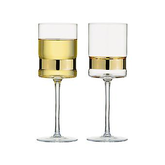 Anton Studio Soho Set of 2 Wine Glasses, Gold