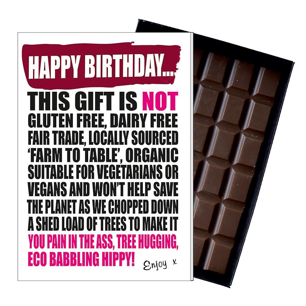 Funny Vegetarian Vegan Birthday Gift Chocolate Greetings Card Present Hippies IYF187
