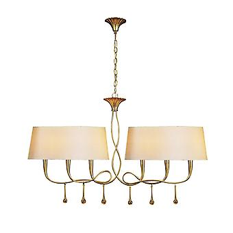 Mantra Paola Pendant 2 Arm 6 Light E14, Gold Painted With Cream Shades & Amber Glass Droplets