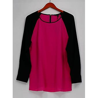 View by Walter Baker Top Color Block Long Sleeve Pink/Black A263081
