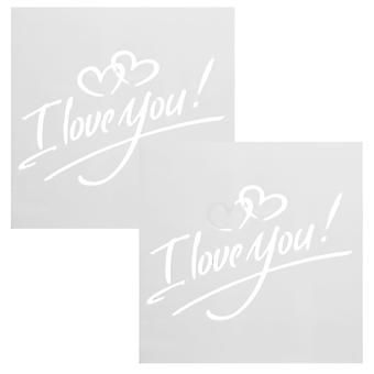 TRIXES I Love you Heart Drawing Stencil Templates for Scrapbooking Card Making