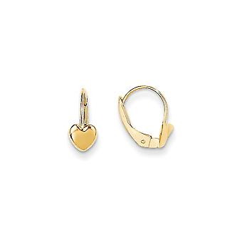 14k Yellow Gold Polished Love Heart Leverback Earrings Jewelry Gifts for Women - .6 Grams