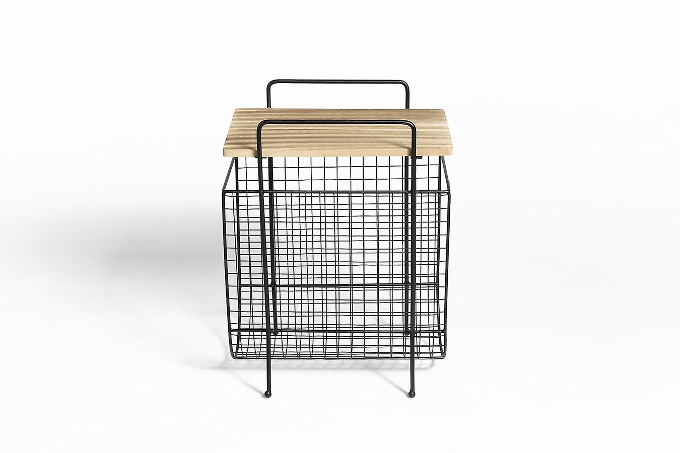 LIFA LIVING side table with newspaper stand, magazine holder in black metal and MDF wood, vintage magazine stand with additional storage, 40 x 29 x 54 cm