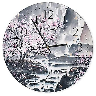 Decorative Clock With Picture, Cherry Blossoms