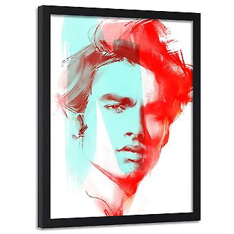Poster no frame, retrato vermelho de um homem