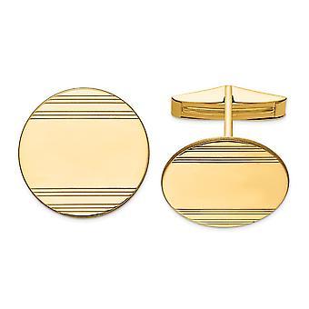 14k sárga arany polírozott gravírozható mandzsetta linkek ékszerek ajándékok férfiaknak - 8,0 gramm