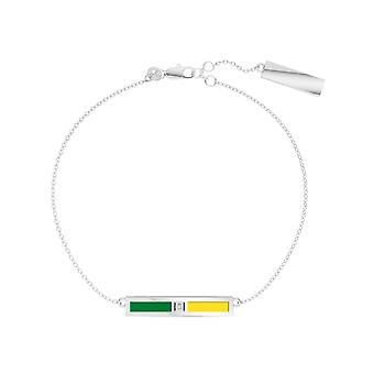 Universiteit van Oregon Sterling Silver Diamond Bar Ketting Armband in groen en geel
