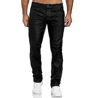 Men's Coated Denim Jeans Black Leather Look Pants Big Plus Size Waxed Trousers