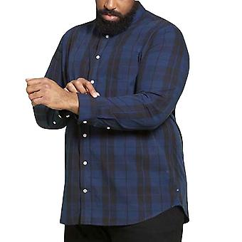 Duke D555 Homme Davenport Big Tall Long Sleeve Checked Collared Shirt - Marine