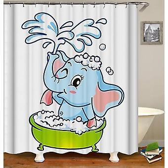 Baby Elephant Cartoon Shower Curtain