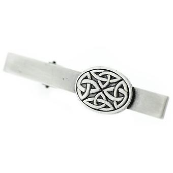 Pewter Celtic Holy Trinity Noeuds Square Oval Tie Bar