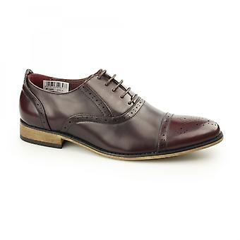 Goor Isaac Mens Pu Lace Up Oxford Brogue Chaussures Oxblood