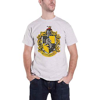 Harry Potter T Shirt Hufflepuff House Crest Logo new Official Mens Grey