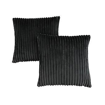 "18"" x 18"" Black, Ultra Soft Ribbed Style - Pillow 2pcs"