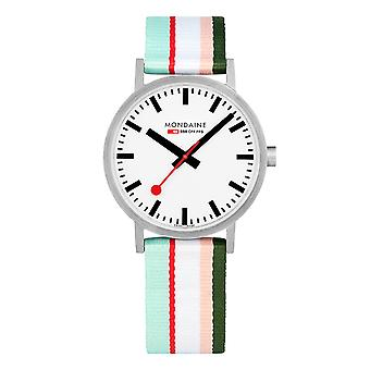 Mondaine Classic Multicolored Textile Strap White Dial Quartz Men-apos;s Watch A660.30360.16SBS 40mm
