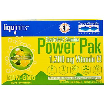 Electrolyte Stamina, Power Pak, Lemon Lime (30 Packets, 4.9 g Each) - Trace Minerals Research