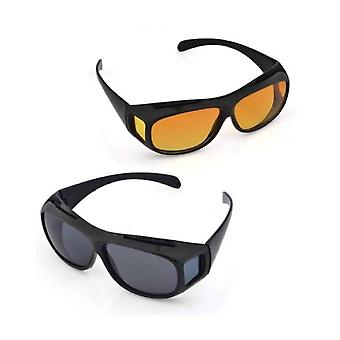 2 PACK HD Night Day Vision de conducere wrap around ochelari de soare anti glare