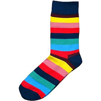 Bassin and Brown Striped Socks - Navy/Multi-colour