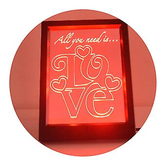 Kwadrat miłość tekst cytat kolor zmiana Lekka rama RC LED lustra