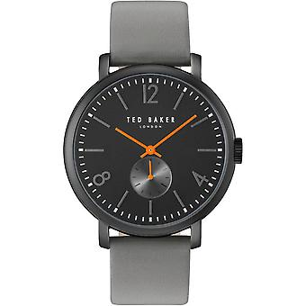 Ted Baker Oliver Quartz Black Dial Grey Leather Strap MensWatch TE10031517