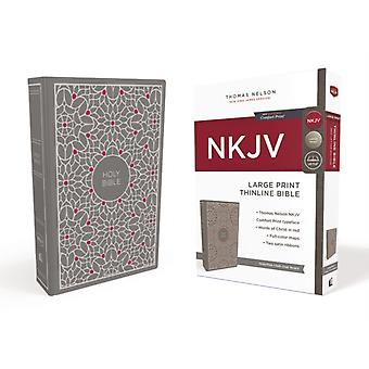 NKJV Thinline Biblia Duży print tkaniny nad pokładzie GrayPink Red Letter Comfort Print Thomas Nelson