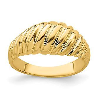 14k Camarão Dourado Dome Ring High Polish Fashion Size 7 Joias Presentes para Mulheres - 3,2 Gramas