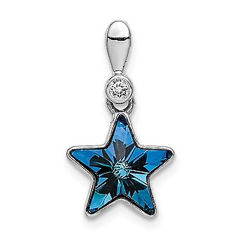 925 Sterling Silver Rhodium plated Clear and Blue Crystal Star Pendant Necklace Jewelry Gifts for Women