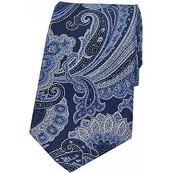 Posh and Dandy Large Edwardian Paisley Silk Tie - Navy Blue
