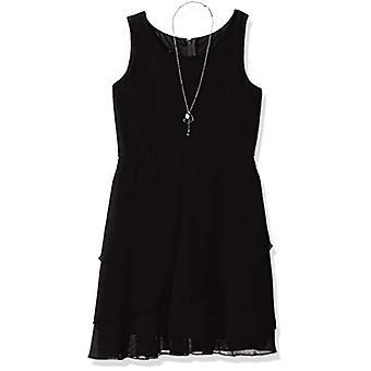 Amy Byer Girls' Big Simply Elegant Sleeveless Chiffon Dress,, Black, Size 8