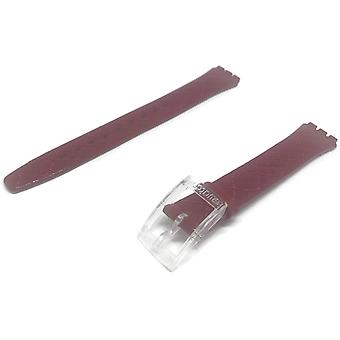 Authentic swatch watch strap leather criss cross 14mm for swatch strawberry jam
