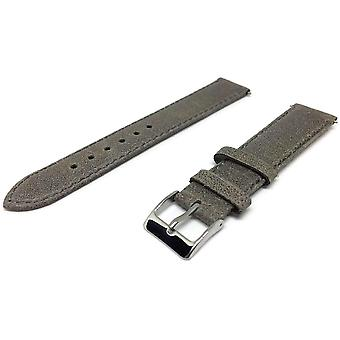 Calf leather watch strap vintage grey elegance matt padded size 16mm to 20mm