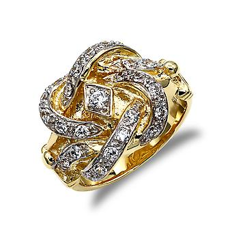 Jewelco London menns solid 9ct gult gull hvit rund brilliant cubic zirconia Double Knot ring
