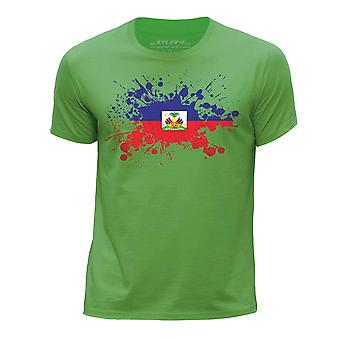 STUFF4 Boy's Round Neck T-Shirt/Haiti/Haitian Flag Splat/Green