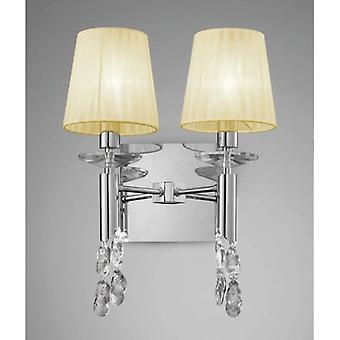 Tiffany Wall Lamp Switched 2+2 Light E14+g9, Polished Chrome With Cream Shades & Clear Crystal