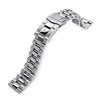 Strapcode watch bracelet 20mm endmill solid 316l stainless steel watch bracelet, straight end, brushed & polished submariner clasp