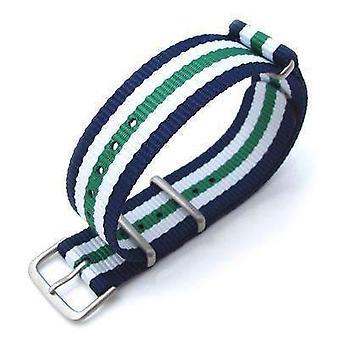 ストラップコード n.a.t.o 時計の革紐ミルタット 20mmミリタリー腕時計の腕の付け革弾道ナイロン腕章、ブラシをかけた - 青、白、緑
