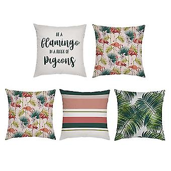 Gardenista Decorative Garden Cushion Covers 45x45 cm | 5 PACK | Waterproof Outdoor Cushion Cover Set | Soft Water-Resistant Fabric for Durability | Flamingo Collection for Gardens