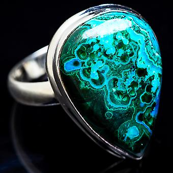 Large Malachite In Chrysocolla Ring Size 13 (925 Sterling Silver)  - Handmade Boho Vintage Jewelry RING3457