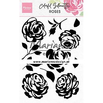 Marianne Design Clear Stamp – Colourful Silhouette Roses CS1046