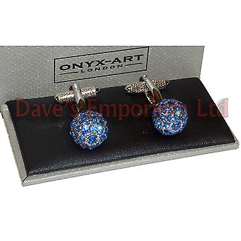 Sapphire Clear Crystal Ball Cufflinks - Onyx Art - Gift Boxed Ladies