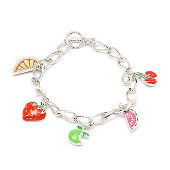 Foxy Fruit Charms Childrens Silvertone T-Bar Bracelet - 7 inches