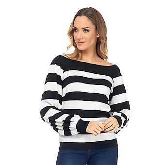 Striped knit sweater with boat collar