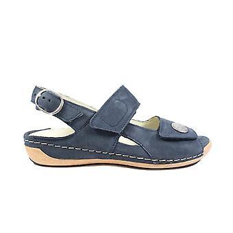 Waldläufer Heliett 342002 191 217 Navy Nubuck Leather Womens Wide Fit Adjustable Sandals