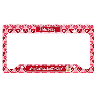 Australian Cattle Dog Valentine's Love and Hearts License Plate Frame