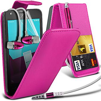 i-Tronixs Vodafone First 7 Case Cover PU Leather Flip Case + Earphones -Pink